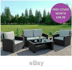 Black Rattan Garden Furniture Sofa Armchair Chair Coffee Table Set FREE COVER