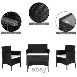Black Rattan Outdoor Garden Furniture Set 4 Piece Chairs Sofa Table Patio Set UK