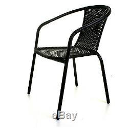 Black Wicker Bistro Sets Outdoor Garden Furniture Table Rattan Chairs Seat Patio
