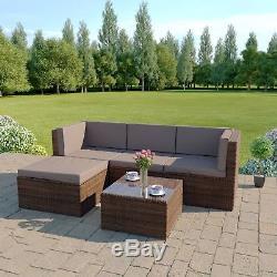 Brown Corner Modular Rattan Wicker Weave Garden Furniture Set Sofa FREE COVER