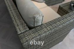 Casa Rattan' Brown Grey Corner Sofa Outdoor Garden Furniture Coffee Table Set