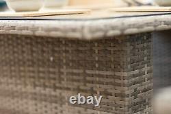 Casa' Rattan Grey Corner Sofa Outdoor Garden Furniture Dining Table Set