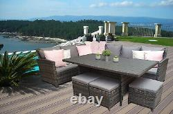 Charlotte Grey Rattan Corner Sofa Outdoor Garden Furniture Dining Table Set