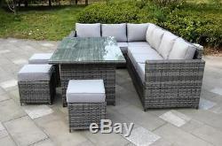 Conservatory Barcelona range Rattan garden furniture set 9 seater dining set