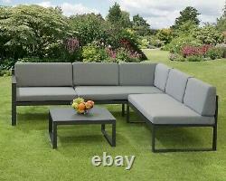 Corner Garden Furniture Aluminium Frame Convertible Sun lounger Fully Assembled