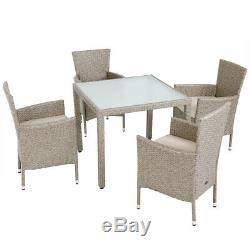 DEUBA Poly Rattan Dining Table Chairs Set 4+1 Garden Furniture Set Beige Grey
