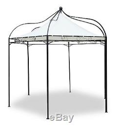 Deluxe Black Metal Steel Frame Gazebo Cream Roof Canopy Garden Marquee Awning