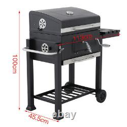 Deluxe Charcoal Bbq Garden Barbeque Trolley Large Stainle Steel Grill Stove Cart