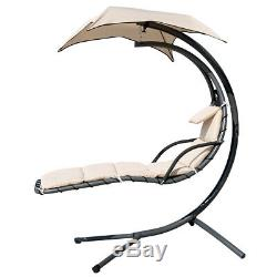 Finether Hanging Hammock Garden Swing Chair Canopy Seater Patio Lounger Beige AA