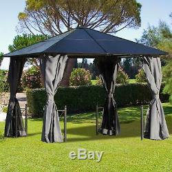 Garden 3x3m Patio Hardtop Gazebo Polycarbonate Outdoor with Netting Curtain
