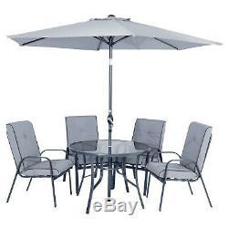 Garden Dining Set Grey Cadiz Table 4 Chairs Tilting Parasol New Patio Furniture