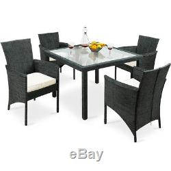 Garden Dining Table Chairs Set 4 Seater Conservatory Outdoor Patio Fabric Grey
