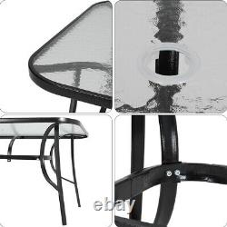 Garden Furniture Set Large Table Chairs Outdoor Patio Seat Tabletop Parasol Hole