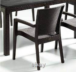 Garden Furniture Set Patio Outdoor Table & Chairs 6 Seater Rattan Style GlassTop