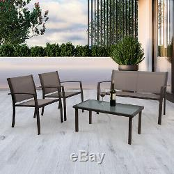 Garden Furniture Set of 4 Pieces Table & Chairs Set Outdoor Patio Corridor Brown
