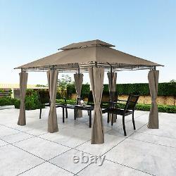Garden Metal Gazebo 3x4M Patio Party Tent Khaki Marquee Canopy Pavilion Sidewall