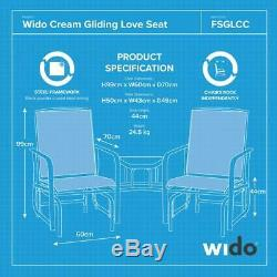 Garden Patio Love Seat Rocker Outdoor Chair Black Glass Top Table Furniture Wido