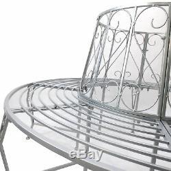 Garden Round Tree Seat 160cm Outdoor Iron Tree Seat Bench Metal Back Park Décor