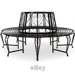 Garden Round Tree Seat Bench Metal Tree Seat Bench 160cm Diameter Coated Steel