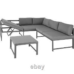 Garden Seating Set Table Glass Top Aluminium Furniture Lounge Sofa Outdoor Grey