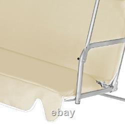 Garden Swing Bench Beige Hammock Canopy Metal Seater Chair Patio Outdoor Lounger