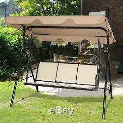 Garden Swing Chair Patio Outdoor Metal Hammock Swinging Bench Lounger 3 Seater
