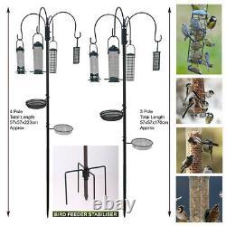 Garden Wild Bird Feeder Feeding Station With Stabiliser Feet Spikes Stand Black