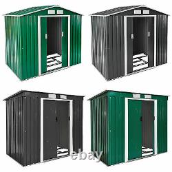 Garden storage shed metal pent tool shed house galvanized steel + foundation