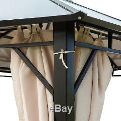 Gazebo Canopy Tent Side Wall Curtain Shelter UV50+ Brown Garden Patio