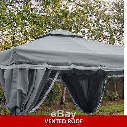 Gazebo Garden Gazebo Florence 3x3 Mtr Graphite Grey Fully Waterproof Pavilion