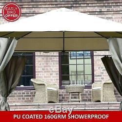 Gazebo Garden Gazebo Pavilion Pu Coated Showerproof 3x3 Mtr Dark Cream