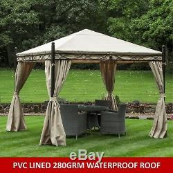 Gazebo Heavy Duty 3x3mtr Garden Gazebo Bronze / Cream Waterproof Canopy