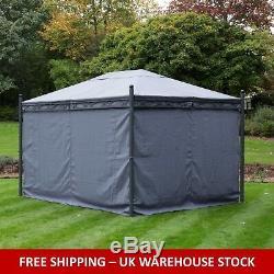 Gazebo Large Heavy Duty 57kg Garden Gazebo Fully Waterproof Canopy, 3x4 Grey