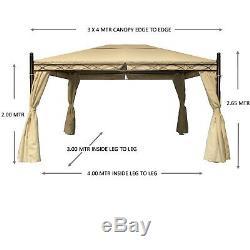 Gazebo Large Heavy Duty 57kg Garden Gazebo Waterproof Canopy, 3x4 Cream