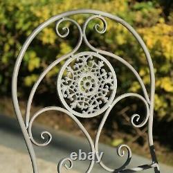 GlamHaus Metal Garden Bistro Set Patio Outdoor Furniture 3 Piece Table Chairs