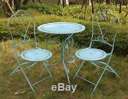 Glamhaus Garden Bistro Set Metal Patio Balcony Furniture 3 Piece Foldable