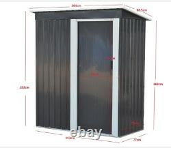 Grey Metal Garden Shed 3FT X 5FT Pent Roof Outdoor Tools Store Storage Shed