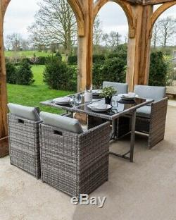 Grey Rattan Cube Glass Topped Dining 4 Seat Garden Furniture Set Cushions