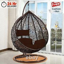 Hanging Egg Chair With Stand Cushion Indoor Outdoor Rattan Garden Swing Chairs