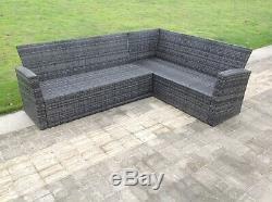 High back rattan corner sofa set table outdoor garden furniture mixed grey