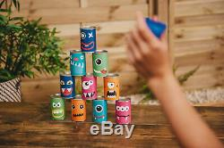 Hit The Can Garden Tin Can Alley Game Family 10 Tins 3 Bean Bags Indoor Outdoor