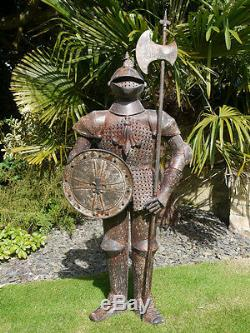 Indoor/Outdoor/Garden mediumMetal/Rusty Finish Suit Of Armour Knight Statue 2383