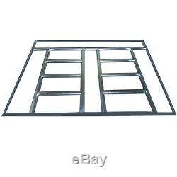 Industrial 8 x 8 ft Heavy Duty Shed Apex Roof Metal Garden Tool House Deep Grey