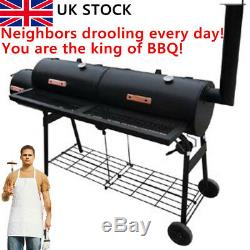 Large Charcoal Barrel BBQ Grill Big Garden Barbecue Patio Smoker BBQ Durable