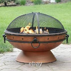 Large Copper Fire Pit Grill BBQ, Round Outdoor Garden Brazier Wood Log Burner