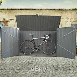 Large Galvanized Steel Garden Bike Shed Tool Outdoor Storage Shed Unit 225cm