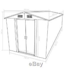 Large Garden Shed 257x597x178cm Metal Green Outdoor Tool Storage House Cabin 6M