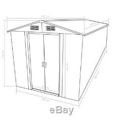 Large Metal Garden Shed Green Lockable Sliding Doors Outdoor Storage Workshop 6M