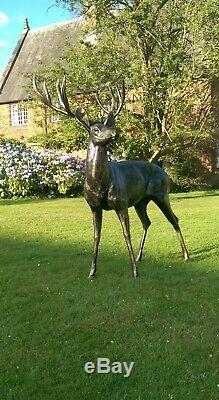 Large Stag Deer Metal Bronze effect Life size Garden Statue Sculpture