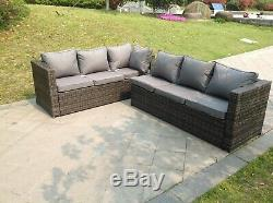 Left arm 6 seater rattan corner sofa set coffee table outdoor garden furniture